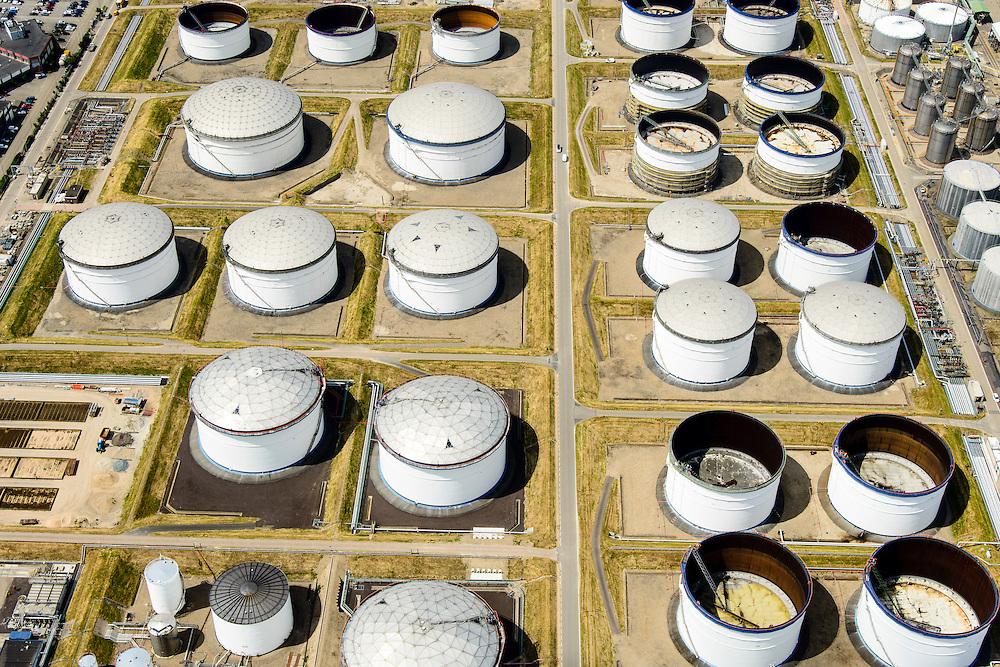 Nederland, Zuid-Holland, Rotterdam, 10-06-2015; detail <br /> Odfjell Terminals Rotterdam in de voorgrond.<br /> Petroleum harbour and terminals for storage of oil and chemicals<br /> Detail Odfjell Terminals  tank storage services. <br /> luchtfoto (toeslag op standard tarieven);<br /> aerial photo (additional fee required);<br /> copyright foto/photo Siebe Swart