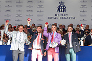 Henley on Thames, England, United Kingdom, 7th July 2019, Henley Royal Regatta, Prize Giving, The Queen Mother Challenge Cup, Leander Club, [© Peter SPURRIER/Intersport Image]<br /> <br /> 17:34:46 1919 - 2019, Royal Henley Peace Regatta Centenary,