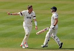 Somerset's Jamie Overton celebrates the wicket of Durham's Scott Borthwick- Photo mandatory by-line: Harry Trump/JMP - Mobile: 07966 386802 - 13/04/15 - SPORT - CRICKET - LVCC County Championship - Day 2 - Somerset v Durham - The County Ground, Taunton, England.