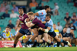 March 9, 2019 - Sydney, NSW, U.S. - SYDNEY, NSW - MARCH 09: Reds player Isaac Lucas (15) hit in a big tackle from Waratahs player Adam Ashley-Cooper (13) and Waratahs player Curtis Rona (11) at round 4 of Super Rugby between NSW Waratahs and Queensland Reds on March 09, 2019 at The Sydney Cricket Ground, NSW. (Photo by Speed Media/Icon Sportswire) (Credit Image: © Speed Media/Icon SMI via ZUMA Press)