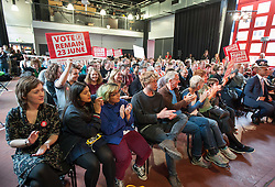 © Licensed to London News Pictures.19/05/2016. Bristol, UK.  Crowd applaud JEREMY CORBYN speaking at a Vote Remain Labour campaign at The Station in Silver Street in Bristol city centre   in support of the UK remaining in the EU. Photo credit : Simon Chapman/LNP