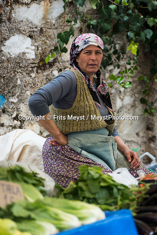 Mugla, Turkey, October 2015.  Market day in Mugla. Situated roughly between the seaside resorts of Marmaris and Bodrum and the Latmos mountains in the east lies Ancient Caria. The Carian Trail runs through pine scented forests along the coastal mountains of Western Turkey and is littered with ancient ruins, secluded coves with turquoise waters and little villages. more than 800km of ancient roads, shepherd paths and forest trails form Turkey's longest hiking trail. Photo by Frits Meyst / MeystPhoto.com