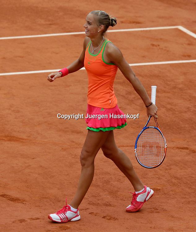 French Open 2011, Roland Garros,Paris,ITF Grand Slam Tennis Tournament . Arantxa Rus (NED) freut sich ueber ihren Sieg,Freude,Emotion,.Einzelbild,Aktion,