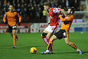Luke Hyam of Rotherham United and Wolverhampton Wanderers midfielder Jack Price fight for the ball  during the Sky Bet Championship match between Rotherham United and Wolverhampton Wanderers at the New York Stadium, Rotherham, England on 5 December 2015. Photo by Ian Lyall.