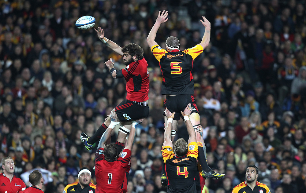 Crusaders' Sam Whitelock beats Chiefs' Brodie Retallick to the ball in a lineout in a Super Rugby semi final match, Waikato Stadium, Hamilton, New Zealand, Saturday, July 27, 2013.  Credit:SNPA / David Rowland