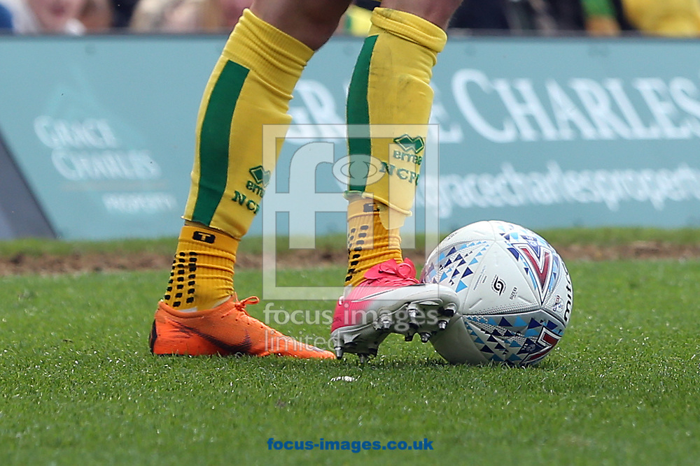 James Maddison of Norwich wears odd boots after he was forced to replace one he had a problem with during the Sky Bet Championship match at Carrow Road, Norwich<br /> Picture by Paul Chesterton/Focus Images Ltd +44 7904 640267<br /> 07/04/2018