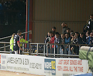 Dundee&rsquo;s Darren O&rsquo;Dea speaks to fans in the South Enclosure after the match - Dundee v Partick Thistle in the Ladbrokes Scottish Premiership at Dens Park, Dundee. Photo: David Young<br /> <br />  - &copy; David Young - www.davidyoungphoto.co.uk - email: davidyoungphoto@gmail.com