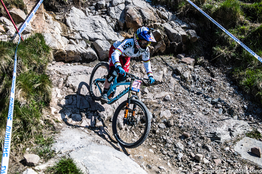 Nevis Range, Fort William, Scotland, UK. 3rd June 2016. World Champion Rachel Atherton of Great Britain in action. The worlds leading mountain bikers descend on Fort William for the UCI World Cup on Nevis Range. © Chris Strickland / Alamy Live News