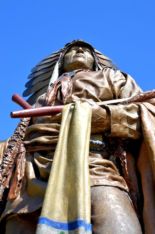 Chief Washakie of Shoshone Tribe Statue at State Capitol in Cheyenne, Wyoming<br /> In front of the Wyoming State Capitol in Cheyenne is this statue of Chief Washakie.  This famous Native American lived for about 100 years during the 19th century. He was a warrior, peace negotiator, friend of Brigham Young and the leader of the Eastern Shoshones. After several treaties with the US, he said, &ldquo;The white man&rsquo;s government promised that if we, the Shoshones, would be content with the little patch allowed us, it would keep us well supplied with everything for a comfortable living &hellip; I say again, the government does not keep its word.&rdquo; The 24 foot statue was sculpted by Dave McGary in 2005.