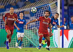 NAPLES, ITALY - Tuesday, September 17, 2019: Liverpool's Mohamed Salah (L) and SSC Napoli's Allan Marques Loureiro during the UEFA Champions League Group E match between SSC Napoli and Liverpool FC at the Studio San Paolo. (Pic by David Rawcliffe/Propaganda)