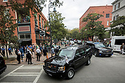 Vice President Mike Pence's motorcade leaves the St. Patrick's Day parade route after he and family members walked last few blocks of the parade, Saturday, March 17, 2018, in Savannah, Ga. (AP Photo/Stephen B. Morton)