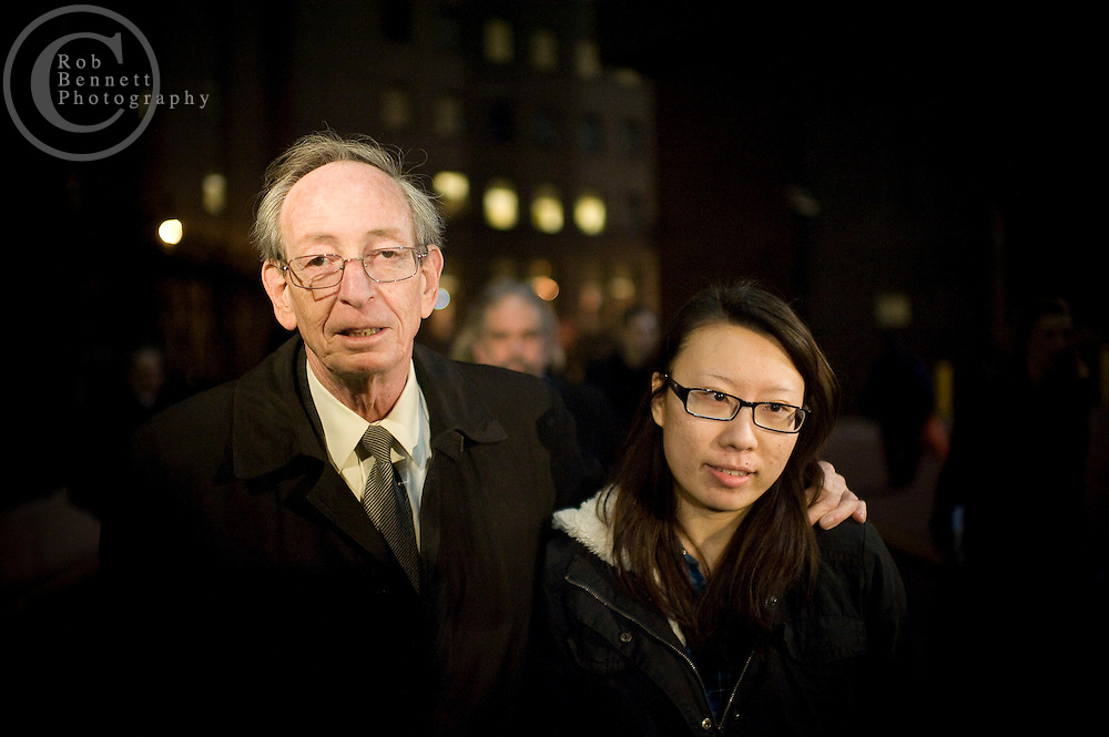 New York, NY: Tue Feb 28, 2012: JIA HOU, a/k/a Jenny Hou, the campaign treasurer for city Comptroller John Liu exits Manhattan Federal Court with her lawyer, Martin Adelman. CREDIT MUST READ: Rob Bennett/The Wall Street Journal .Slug: JiaHou