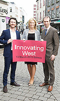 Repro free. David Cunningham, Counterweight and Innovating West, Michelle Murphy from Collins McNicholas with John Breslin, NUIG and Innovating West, at the Sponsors launch of Innovating West which takes place in the Lifecourse Institute at NUIG .<br />  Innovating West, a one-day summit in Galway that will bring together innovators, creators, entrepreneurs and leaders to discuss how great teams and innovation ecosystems can be built in the West of Ireland. Photo:Andrew Downes