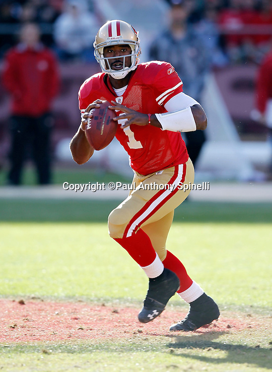 San Francisco 49ers quarterback Troy Smith (1) rolls out while looking to pass during the NFL week 11 football game against the Tampa Bay Buccaneers on Sunday, November 21, 2010 in San Francisco, California. The Bucs won the game 21-0. (©Paul Anthony Spinelli)