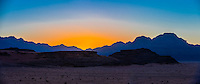Sunset, Wadi Rum, Arabian Desert, Jordan.