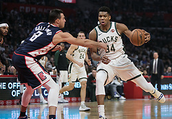 November 10, 2018 - Los Angeles, California, U.S - Brook Lopez #11 of the Milwaukee Bucks is defended by Danilo Gallinari #8 of the Los Angeles Clippers during their NBA game on Saturday November 10, 2018 at the Staples Center in Los Angeles, California. Clippers defeat Bucks in OT, 128-126. (Credit Image: © Prensa Internacional via ZUMA Wire)