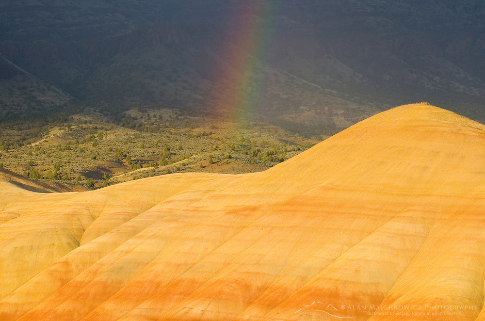 Rainbow at sunset over the Painted Hill Unit of John Day Fossil Beds National Monument Oregon