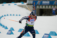 Jeremy Teela (USA) competes in the World Cup Biathlon men's Sprint Competition on March 13, 2009