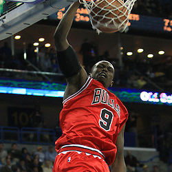 04 February 2009: Chicago Bulls forward Luol Deng (9) dunks during a 93-107 loss by the New Orleans Hornets to the Chicago Bulls at the New Orleans Arena in New Orleans, LA.