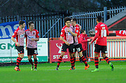Exeter celebrate their equalising goal during the Sky Bet League 2 match between Exeter City and Dagenham and Redbridge at St James' Park, Exeter, England on 2 January 2016. Photo by Graham Hunt.