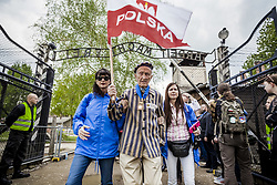 May 2, 2019 - Edward Mosberg, 93 years old, survivor prisoner of the jewish holocaust, under the famous entrance ''Arbeit Macht Frei'' in the Auschwitz concentration camp during the March of The Living in Oswiecim, Poland. (Credit Image: © Celestino Arce Lavin/ZUMA Wire)