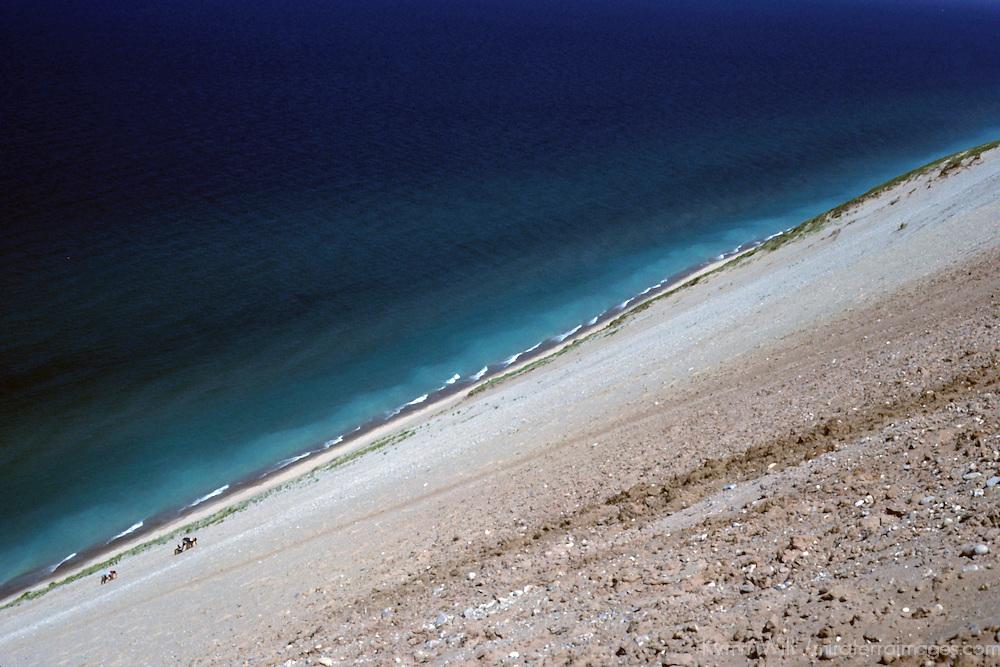 USA, Michigan, Sleeping Bear Dunes National Lakeshore. Tiny climbers scale the dune at Sleeping Bear Dunes.