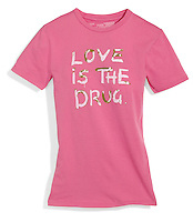 love is the drug pink t-shirt