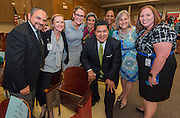 Houston ISD Superintendent Richard Carranza poses for a photograph with principals during a stop of the Listen & Learn tour at Black Middle School, September 20, 2016.