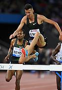 Soufiane Elbakkali (MAR) places second in the steeplechase in 8:10.19 during the Weltklasse Zurich in an IAAF Diamond League meeting at Letzigrund Stadium in Zurich, Switzerland on Thursday, August 30, 2018.(Jiro Mochizuki/Image of Sport)