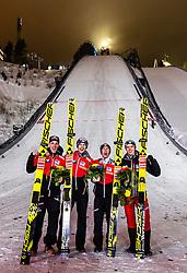 09.02.2019, Salpausselkae Hill, Lahti, FIN, FIS Weltcup Ski Sprung, Teamspringen, Herren, Siegerehrung, im Bild Sieger Oesterreich, v.l.: Gregor Schlierenzauer (AUT), Michael Hayboeck (AUT), Stefan Kraft (AUT), Philipp Aschenwald (AUT) // Winner Austria f.l.: Gregor Schlierenzauer of Austria Michael Hayboeck of Austria Stefan Kraft of Austria Philipp Aschenwald of Austria during the winner Ceremony for the men's team event of FIS Ski Jumping World Cup at the Salpausselkae Hill in Lahti, Finland on 2019/02/09. EXPA Pictures © 2019, PhotoCredit: EXPA/ JFK