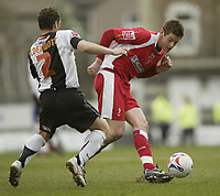 Photo: Aidan Ellis.<br /> Grimsby Town v Swindon Town. Coca Cola League 2. 17/03/2007.<br /> Swindon's Lucas Jutkiewicz looks to pass the ball past Grimsby's John McDermott