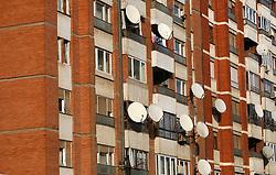PRISTINA, KOSOVO - DECEMBER 14 - stevilne satelitske antene na bloku