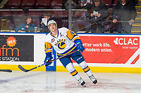 KELOWNA, BC - DECEMBER 01:  Chase Wouters #44  of the Saskatoon Blades looks at the jumbotron during warm up against the Kelowna Rockets at Prospera Place on December 1, 2018 in Kelowna, Canada. (Photo by Marissa Baecker/Getty Images)