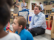 05 SEPTEMBER 2019 - DES MOINES, IOWA: US Senator MICHAEL BENNET (D-CO) sits with students in a class at Jesse Franklin Taylor Education Center during an education roundtable he hosted in Des Moines. Sen. Bennet is running for the Democratic nomination for the US Presidency in the 2020 election. Iowa traditionally hosts the the first election event of the presidential election cycle. The Iowa Caucuses will be on Feb. 3, 2020.               PHOTO BY JACK KURTZ