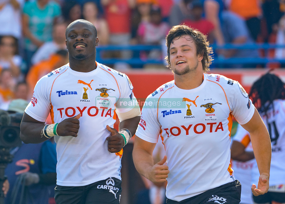 Raymond Rhule and Nico Lee of the Free State Cheetahs during the Currie Cup Final between the The Free State Cheetahs and Blue Bulls held at Toyota Stadium (Free State Stadium), Bloemfontein, South Africa on the 22nd October 2016<br /> <br /> Photo by:   Frikkie Kapp / Real Time Images