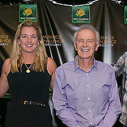 March 6, 2015, Indian Wells, California:<br /> Draw ceremony participants pose for a photograph during the McEnroe Challenge for Charity VIP Draw Ceremony in Stadium 2 at the Indian Wells Tennis Garden in Indian Wells, California Friday, March 6, 2015. From left to right: John McEnroe, Tracy Austin, James Blake, CocoVandeweghe, Raymond Moore, Andy Roddick, Lindsay Davenport, Rick Leach.<br /> (Photo by Billie Weiss/BNP Paribas Open)