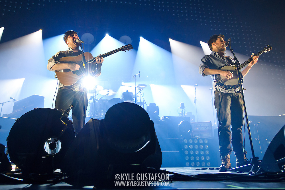 FAIRFAX, VA - February 13th,  2013 - Fresh off their Grammy win for 2013 Album of the Year, Marcus Mumford and Winston Marshall of British folk outfit Mumford & Sons begin a two night stand at the Patriot Center in Fairfax, VA. Babel, the band's sophomore album, debuted at number one in both the UK and US album charts. (Photo by Kyle Gustafson/For The Washington Post)