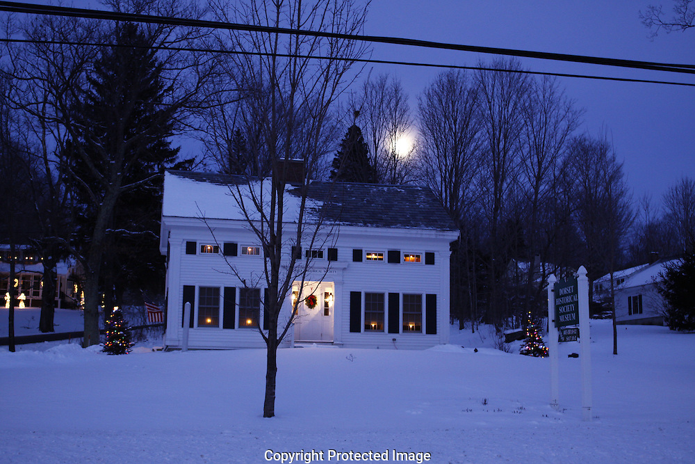 Dorset Historical Society on a cold night with a full moon, Dorset, VT