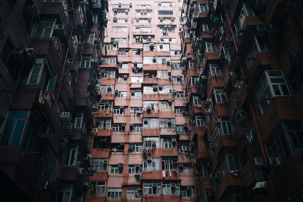 A towering residential complex in Hong Kong.