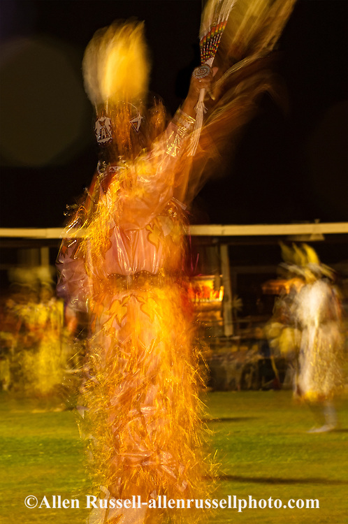 Crow Fair, powwow, Jingle Dancer, Crow Indian Reservation, Montana, blurred motion