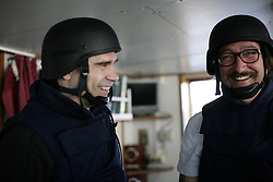 INDIAN OCEAN 253MAR13 - Bridge team dressed in protective gear during pirate drill on the bridge of the Esperanza in the Indian Ocean.<br /> <br /> jre/Photo by Jiri Rezac / Greenpeace