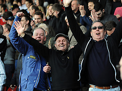 Bristol City fans celebrate on the final whistle  - Photo mandatory by-line: Joe Meredith/JMP - Mobile: 07966 386802 12/04/2014 - SPORT - FOOTBALL - Walsall - Banks' Stadium - Walsall v Bristol City - Sky Bet League One