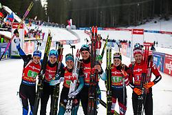 Rene Zahkna (EST), Regina Oja (EST), Emilien Jacquelin (FRA), Anais Bescond (FRA), Simon Eder (AUT), Lisa Theresa Hauser (AUT) during award ceremony after the Single Mixed Relay 6 km / 7,5 kmn at day 3 of IBU Biathlon World Cup 2019/20 Pokljuka, on January 23, 2020 in Rudno polje, Pokljuka, Pokljuka, Slovenia. Photo by Peter Podobnik / Sportida