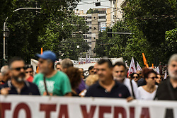People demonstrate against a draft labour legislation in central Athens on September 24, 2019 during a 24-hours nationwide strike. in Athens, Greece, on 24 September 2019 <br /> <br /> <br /> Dimitris Lampropoulos    EEm date