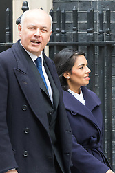 Downing Street, London, March 8th 2016. Work and Pensions Secretary Iain Duncan Smith and Employment Minister Priti Patel arrive for the weekly UK cabinet meeting at Downing Street. &copy;Paul Davey<br /> FOR LICENCING CONTACT: Paul Davey +44 (0) 7966 016 296 paul@pauldaveycreative.co.uk