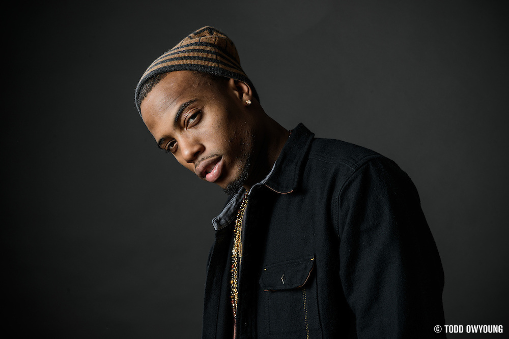 B.o.B. photographed at the iHeartRadio Theater in New York City on December 18, 2013.