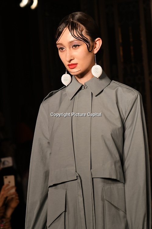 Designer Starsica showcases is latest collection at Fashion Scout - SS19 at Freemasons Hall, London, UK. 16 September 2018.