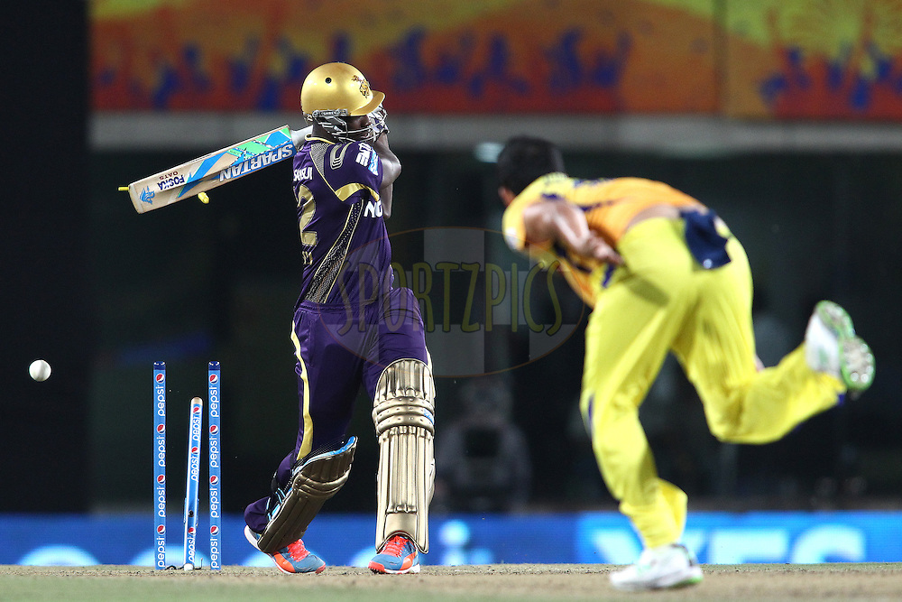 Andre Russell of the Kolkata Knight Riders is clean bowled by Mohit Sharma of The Chennai Super Kings during match 21 of the Pepsi Indian Premier League Season 2014 between the Chennai Superkings and the Kolkata Knight Riders  held at the JSCA International Cricket Stadium, Ranch, India on the 2nd May  2014<br /> <br /> Photo by Shaun Roy / IPL / SPORTZPICS<br /> <br /> <br /> <br /> Image use subject to terms and conditions which can be found here:  http://sportzpics.photoshelter.com/gallery/Pepsi-IPL-Image-terms-and-conditions/G00004VW1IVJ.gB0/C0000TScjhBM6ikg