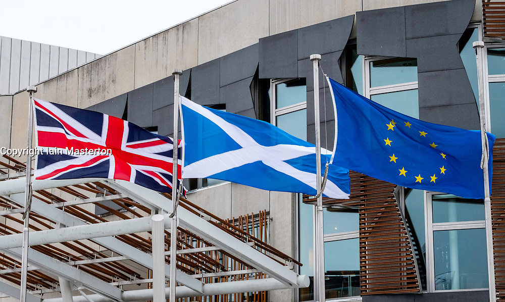 Flags flying outside Scottish Parliament building at Holyrood in Edinburgh, Scotland, United Kingdom