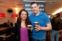 Pictured at the Huntsman, Co. Galway is Jemma O Brien Wellpark and Aidan Duane Loughrea attending the GUINNESS Mid-Strength Taste Test Tour. Guinness Master Brewer Fergal Murray and former Irish Rugby International Mick Galwey hosted the event, which featured a special Q&A on rugby and a Pour Your Pint Competition. .Full details are available on www.Facebook.com/Guinnessireland GUINNESS Mid-Strength has the unmistakable distinctive taste and is brewed in exactly the same way as GUINNESS, just with less alcohol at 2.8%...The GUINNESS word and associated logos are trademarks...Enjoy Guinness Sensibly...Visit www.drinkaware.ie..